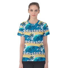 Tropical Surfing Palm Tree Women s Cotton Tee by pushu