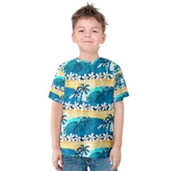 Tropical Surfing Palm Tree Kids  Cotton Tee by pushu