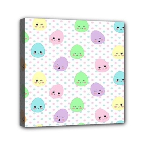 Egg Easter Smile Face Cute Babby Kids Dot Polka Rainbow Mini Canvas 6  X 6  by Mariart