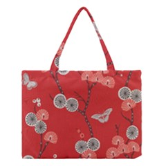 Dandelions Red Butterfly Flower Floral Medium Tote Bag by Mariart