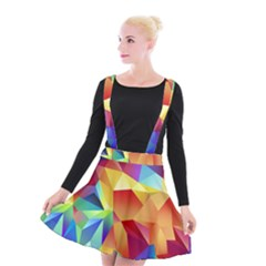 Triangles Space Rainbow Color Suspender Skater Skirt by Mariart