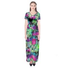 Blended Texture         Short Sleeve Maxi Dress