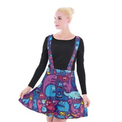 Hipster Pattern Animals And Tokyo Suspender Skater Skirt by Vayuart