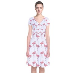 Pink Flamingo Pattern Short Sleeve Front Wrap Dress