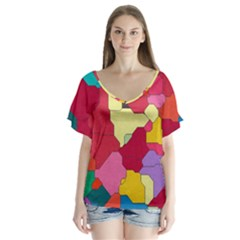 Colorful Leather Pieces            V Neck Flutter Sleeve Top
