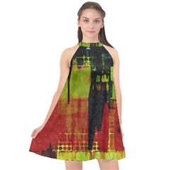 Grunge Texture            Halter Neckline Chiffon Dress