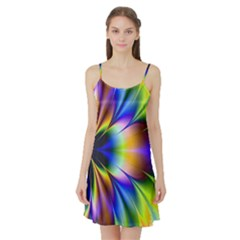 Bright Flower Fractal Star Floral Rainbow Satin Night Slip by Mariart