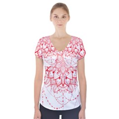Mandala Pretty Design Pattern Short Sleeve Front Detail Top by Nexatart