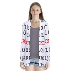 Binary Black Cyber Data Digits Cardigans by Nexatart