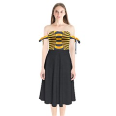 Kellytvgear Extended Strips Shoulder Tie Bardot Midi Dress by Kellytvgear
