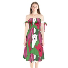 Animals White Bear Flower Floral Red Green Shoulder Tie Bardot Midi Dress by Mariart