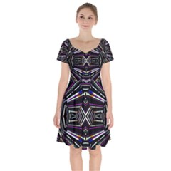 Dark Ethnic Sharp Bold Pattern Short Sleeve Bardot Dress by dflcprintsclothing