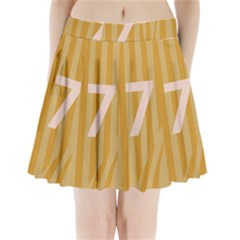 Number 7 Line Vertical Yellow Pink Orange Wave Chevron Pleated Mini Skirt by Mariart