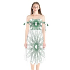 Spirograph Pattern Circle Design Shoulder Tie Bardot Midi Dress by Nexatart