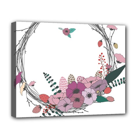 Flowers Twig Corolla Wreath Lease Deluxe Canvas 20  X 16   by Nexatart