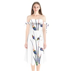 Flora Abstract Scrolls Batik Design Shoulder Tie Bardot Midi Dress by Nexatart