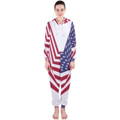 A Star With An American Flag Pattern Hooded Jumpsuit (ladies)