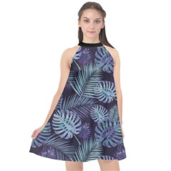 Leaves Monstera Halter Neckline Chiffon Dress  by Contest2284792