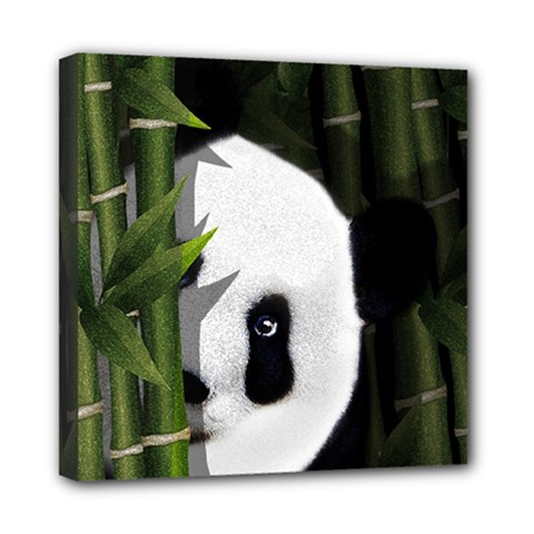 Panda Mini Canvas 8  x 8  by Valentinaart