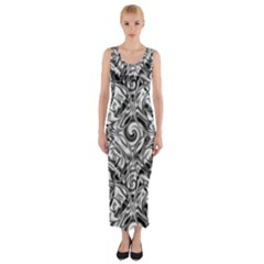 Gray Scale Pattern Tile Design Fitted Maxi Dress