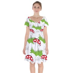 Mushroom Luck Fly Agaric Lucky Guy Short Sleeve Bardot Dress by Nexatart