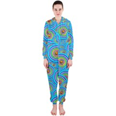 Digital Art Circle About Colorful Hooded Jumpsuit (ladies)