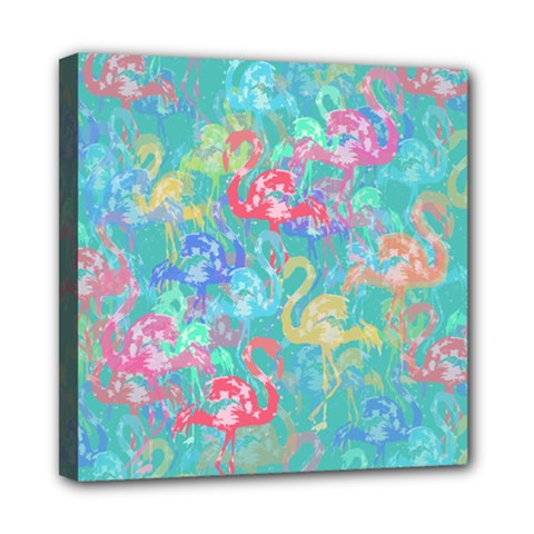 Flamingo pattern Mini Canvas 8  x 8  by Valentinaart
