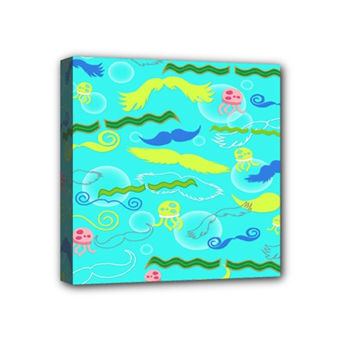 Mustache Jellyfish Blue Water Sea Beack Swim Blue Mini Canvas 4  x 4  by Mariart