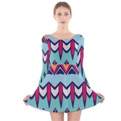 Rhombus hearts and other shapes             Long Sleeve Velvet Skater Dress