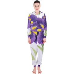 Lily Flower Plant Blossom Bloom Hooded Jumpsuit (ladies)