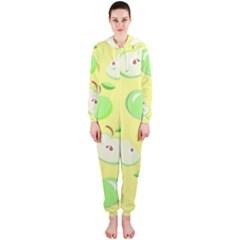 Apples Apple Pattern Vector Green Hooded Jumpsuit (Ladies)