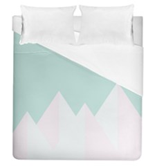 Montain Blue Snow Chevron Wave Pink Duvet Cover (Queen Size) by Mariart