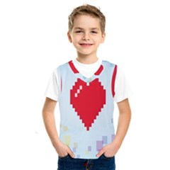 Red Heart Love Plaid Red Blue Kids  Sportswear by Mariart
