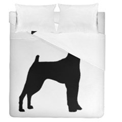 Min Pin Silo Black Duvet Cover Double Side (Queen Size) by TailWags
