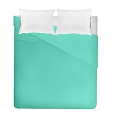 Classic Tiffany Aqua Blue Solid Color Duvet Cover Double Side (Full/ Double Size) by PodArtist