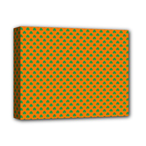 Heart-Shaped Shamrock Green on Orange St.Patrick?¯s Day Clover Deluxe Canvas 14  x 11  by PodArtist