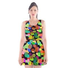 Colorful paint on a black background            Scoop Neck Skater Dress