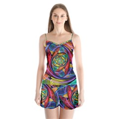 Eye Of The Rainbow Satin Pajamas Set by WolfepawFractals