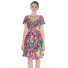 Wonderful Floral 24b Short Sleeve Bardot Dress by MoreColorsinLife