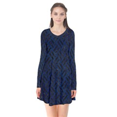 Woven2 Black Marble & Blue Grunge (r) Long Sleeve V Neck Flare Dress by trendistuff