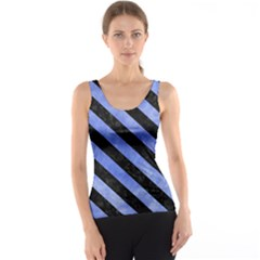 Stripes3 Black Marble & Blue Watercolor (r) Tank Top by trendistuff