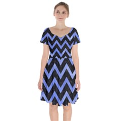 Chevron9 Black Marble & Blue Watercolor Short Sleeve Bardot Dress by trendistuff