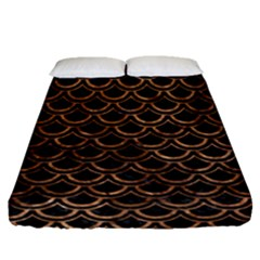 Scales2 Black Marble & Brown Stone Fitted Sheet (queen Size) by trendistuff