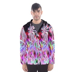 Fractal Fireworks Display Pattern Hooded Wind Breaker (men) by Nexatart
