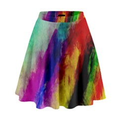 Colorful Abstract Paint Splats Background High Waist Skirt by Nexatart
