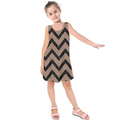 Chevron9 Black Marble & Brown Colored Pencil (r) Kids  Sleeveless Dress by trendistuff