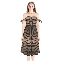 Skin2 Black Marble & Bronze Metal (r) Shoulder Tie Bardot Midi Dress by trendistuff
