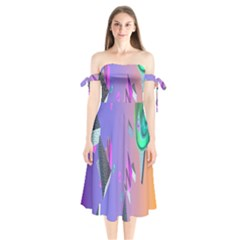 Triangle Wave Rainbow Shoulder Tie Bardot Midi Dress by Mariart