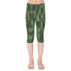 Camouflage Green Army Texture Kids  Capri Leggings  by BangZart