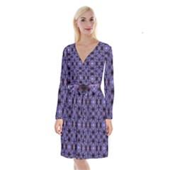 Lavender Moroccan Tilework  Long Sleeve Velvet Front Wrap Dress